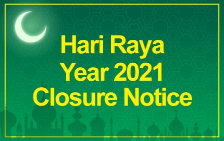 Raya 2021 closure notice